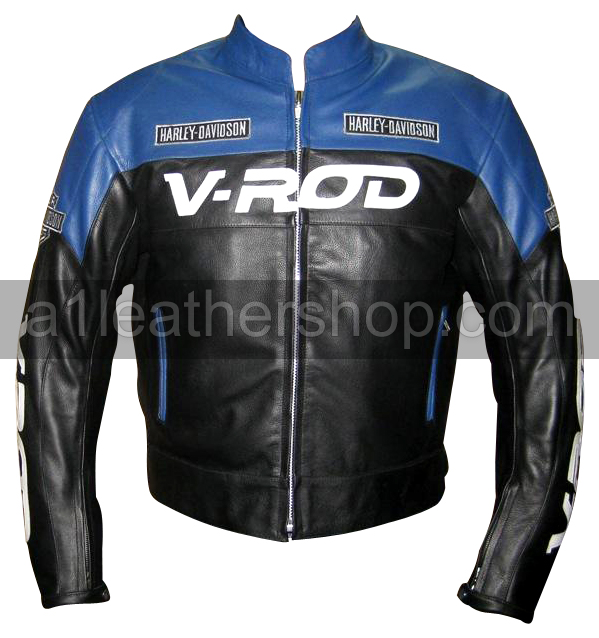 Harley Davidson V ROD motorcycle leather jacket blue black color