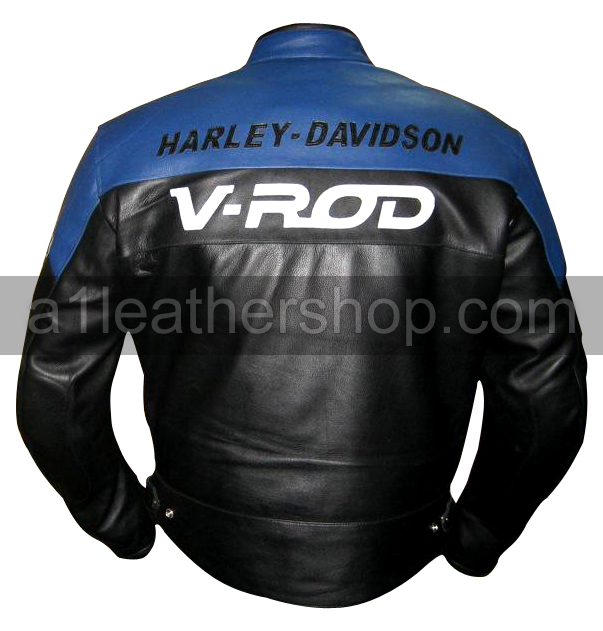 Harley Davidson V Rod Motorcycle Leather Jacket Blue Black