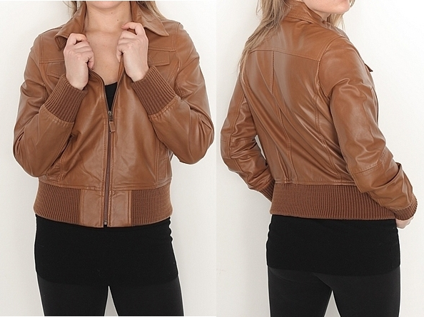 Ladies Fashion Soft Anline Leather Jacket Brown Color