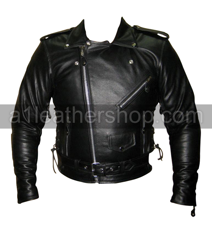 Mens Classic TOP GRADE Biker Motorcycle Leather Jacket