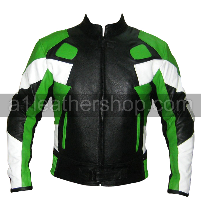 Motorbike racing leather jacket black green white color