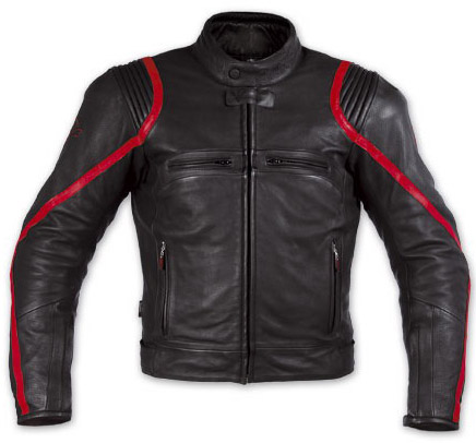Motorcycle Leather Jacket Full black with red line