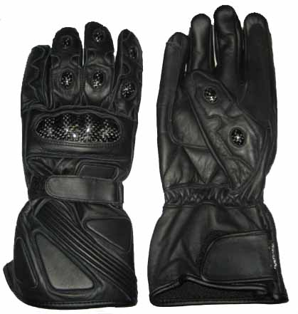 Motorbike Racing Black Color Leather Gloves