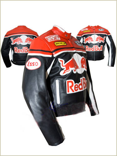 Red Bull Red Black Motorbike Leather Jacket