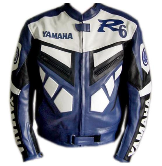 YAMAHA R6 Blue Color Motorbike Leather Jacket