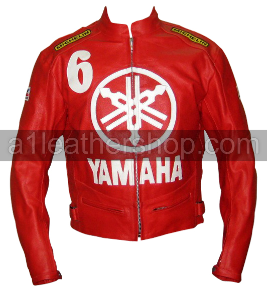 Yamaha 6 Red Biker Leather Jacket