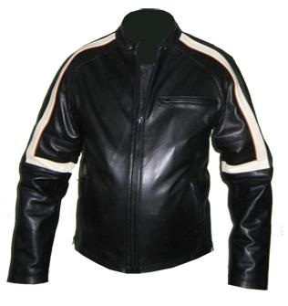 Black soft aniline leather jacket with white strip