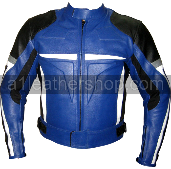black blue motorcycle jacket with white and silver patches