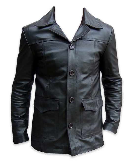 mens four button black leather coat