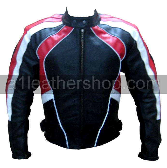 motorcycle fashion leather jacket in black white red color