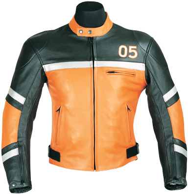 Motorcycle leather jacket 05 black and orange color