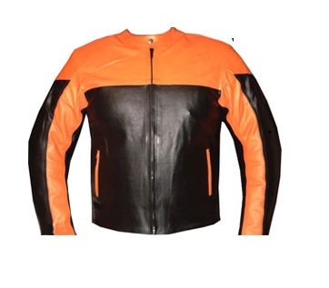 orange and black motorcycle leather jacket