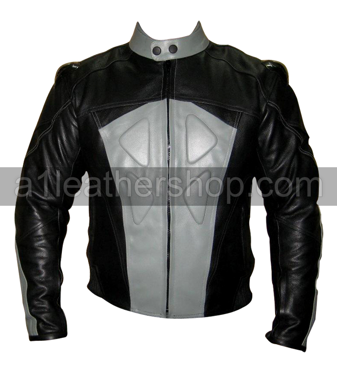 silver and black color motorbike racing leather jacket