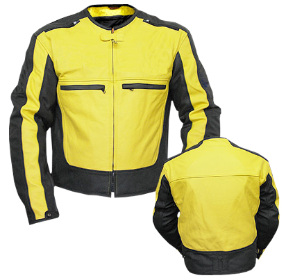 Yellow and Black color motorcycle leather jacket